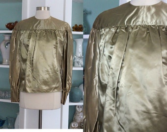 1940s Satin Top / Vintage 40s Khaki Chartreuse Yellow Green Satin Jacket Blouse Top / Poet Blouse / Puff Sleeves / 30s Art Deco - S/M