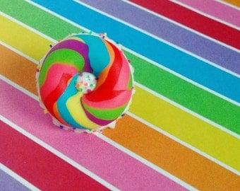 Rainbow Bagel w/ Funfetti Cream Cheese Lapel Pin - Handmade Mini Food Dessert Candy Jewelry - Breakfast Collection
