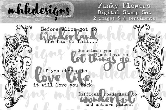 Funky Flowers Digital Stamp Set