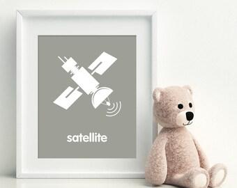 SATELLITE Space Nursery Art Print - art poster - nursery art - child's room decor, playroom print