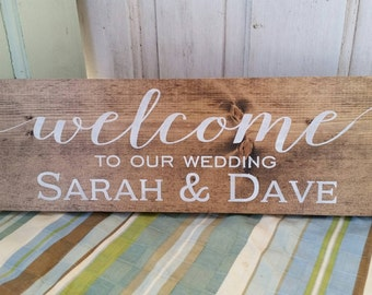 Welcome to our wedding sign - Dark stained wedding sign- welcome Sign- Wedding Decor sign