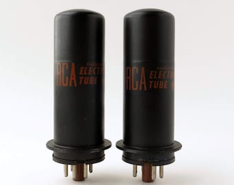 Pair RCA 6L6Y vacuum tubes - metal 6L6 with low loss phenolic bottom wafer - electrically matched