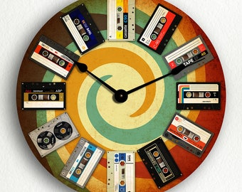 Illustrated Cassette Tapes Groovy Retro Themed Silent Wall Clock