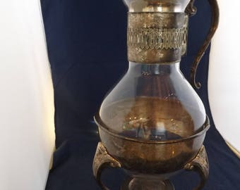 Vintage Coffee Carafe, Silver Plated With Holder
