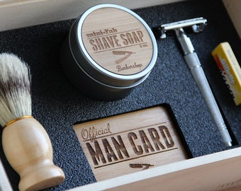 Personalized Double-Edge Safety Razor Shave Kit in a Handmade Cigar Box with Shaving Brush, Shave Soap, Strop, and Blades - Aspen