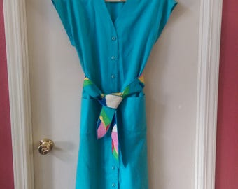 Vintage Leslie Fay button down Summer Dress ILGWU size 10