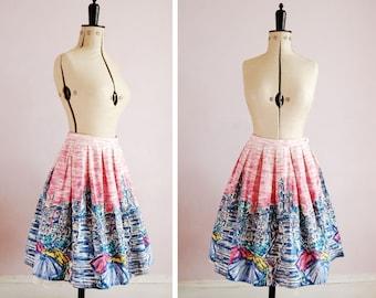 Vintage 1950s Spanish steps novelty print skirt - 50s conversation print skirt - 50s full skirt - 50s novelty skirt - 50s Border Print Skirt