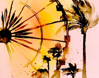Ferris Wheel Wanderlust Print from Original Watercolor Painting  - Wall Home Decor - Wanderlust Illustration - Sunset Cityscape - Lana's Art