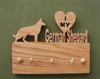 Red Oak I Love My German Shepherd Key/Leash Hanger Cut On Scroll Saw