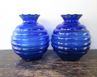 Sale Pair of Hazel Atlas Moderntone Art Deco Cobalt Vases
