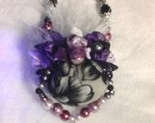Ornament Black Purple Purse Pearls