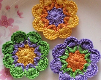3 Crochet  Flowers In 2 inches  Applies YH - 229