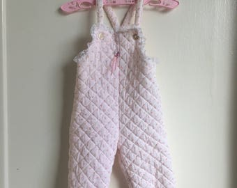 VTG Baby Girl Quilted Rosebud Overalls Pink Sz 6-9M Lace