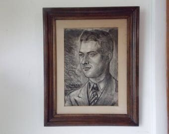Vintage Male Portrait Charcoal Drawing of Handsome Young Man in Suit Signed Henri