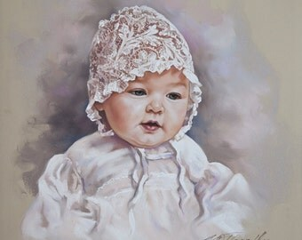 Pastel portrait of a baby girl with bonet