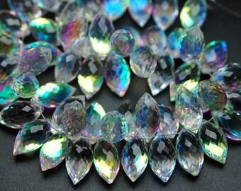 4 Match Pair,Rainbow Quartz Faceted Dew Drops Briolettes 15-16mm Size