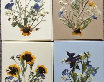 Set of 4 Pressed Flower Cards made with beautiful Montana grown flowers