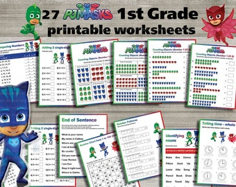 Instand DL - PJ Masks 1st grade printable worksheets package- activities - school Learning Pack-  (NON Personalized)