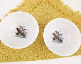 Two Fire-King 'Game Bird' Bowls - Canada Geese - White Fire-King Milkglass - Kitchen or RV - Chili Bowls - Camping - Retro Kitchen - Cabin