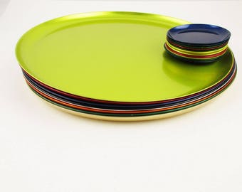 "Dining Details - Eight 'Pastelite' Chargers/Trays and Coasters - Vibrant Jewel Colors - 12"" Metal Chargers Plus Twelve Coasters"