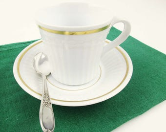 A Royal Worcester 'Ensign' Pattern  Espresso or Demitasse Cup and Saucer - Gold Banded Porcelain Made in England - Cup and Saucer