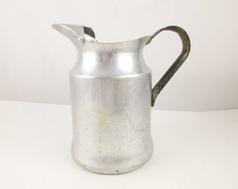 A 1950s Aluminum 'Walker Ware' Pitcher - Picnics - Sturdy and Strong - Scratched and Spotted - Aluminum Pitcher With Ice Catcher - Outdoors