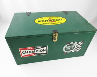 Mechanic's Box - Green Painted Plywood Box - Lidded Box - Decals - Pennzoil - Quaker State - Champion - Stack Up and Store - Catch-all