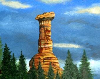 Sedona Rock Monument, Forest Art, Nature Decor, Original Acrylic Painting 16 x 20