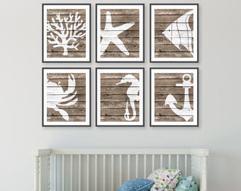 Rustic Nautical Nursery Art Beach Decor Sea Gifts