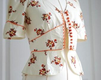 Vintage Floral Peplum Top