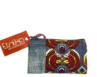 Red african print wallet, upcycle denim wallet, jeans monney pocket, ethnic denim wallet, etnika accessories, gift for her, gift for him,