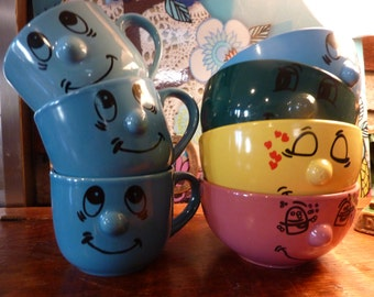 Vintage DOLCE VITA Home Collection Lot Of 4  Bowls And 3 Mugs Cups