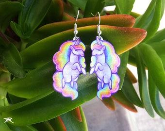 Pastel Lilac Purple Unicorn Rainbow Pony Magical Horse Fantasy Cute Geeky Metal Dangle Earrings
