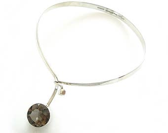 Modernist GERT THYSELL Silver Choker Necklace Smokey Quartz Sweden - Mid Century Scandinavian Jewelry | Vintage Jewelry