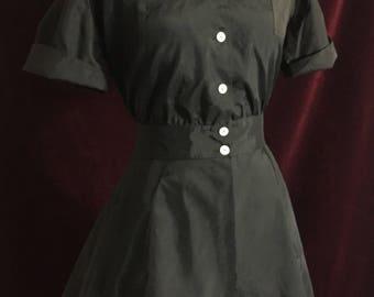 Vintage 1950's Hollywood Uniforms Peplum Smock