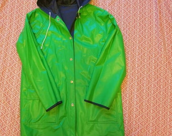 Reversible Navy And Green Raincoat