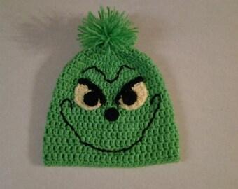 Crochet Christmas Grinch hat