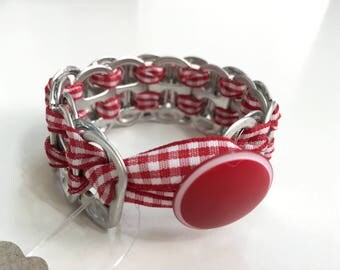 Woven Soda Can Tab Ribbon Bracelet - Red and White Gingham Ribbon - Recycled Soda Can Tabs - Upcycled Bracelet