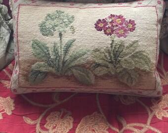 Country Cottage Primrose Hydrangeas needlepoint Pillow
