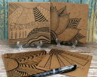 Blank Note Cards Hand Drawn, Zen Inspired Happy Days on 5 1/2 x 5 1/2 Brown Kraft Card Stock Set of 4