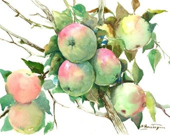 Green Red Apples on Tree, original watercolor painting, 12 X 15 in, fruit painting, kitchen art,