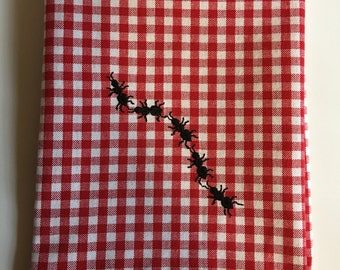 Gingham Kitchen Towel with Black Embroidered Ants..Red and White Gingham..Picnic..BBQ..Cookout..Tea towel..Dish cloth..Flour sack towel