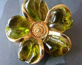 Gripoix Green Flower Brooch-Pin, Poured Glass, Gold Tone, Vintage