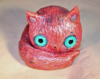 OOAK Polymer clay pink cat figurine