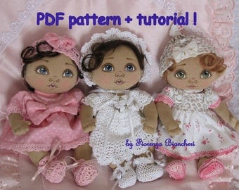 PDF pattern and tutorial to make a mini baby cloth doll by Fiorenza Biancheri, sewing pattern, step-by-step photo tutorial