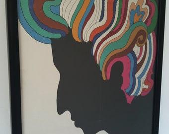 Original Vintage Poster Bob Dylan Milton Glaser Psychedelic 1960's Framed