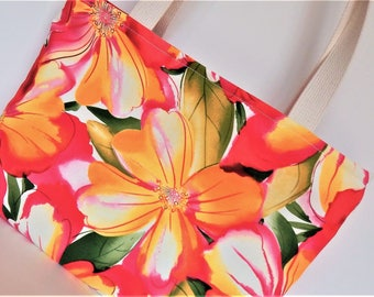 Bright colored canvas tote or shopper, beach bag, adds fun to everything!