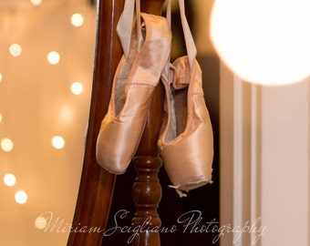 Ballerina Photography, girls room wall decor, pointe shoes, vintage mirror, nursery photography, Dance, ballet, wall art, pink, dance studio