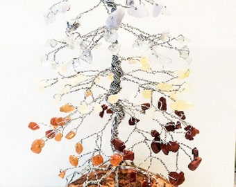 Chakra Pine Gem Tree, Silver Wire Wrapping on Rock Base, Handmade Tree of Life Sculpture