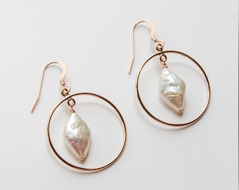 Gold Filled Pearl Hoop Earrings